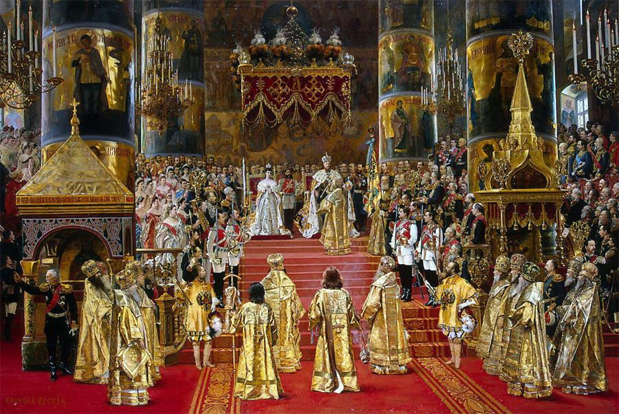 The coronation of Emperor Alexander III and Empress Maria Feodorovna (1888).