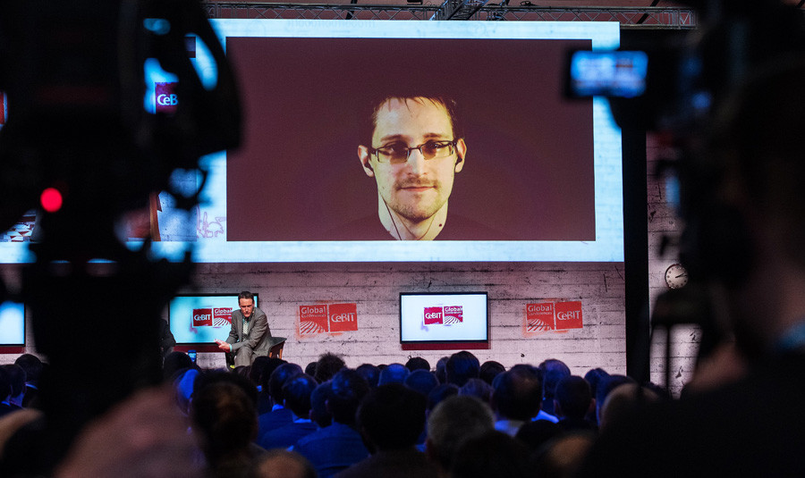 Edward Snowden during a video interview