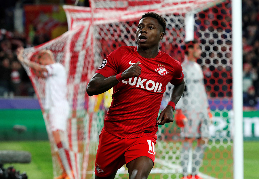 Spartak Moscow's Quincy Promes celebrates scoring their first goal