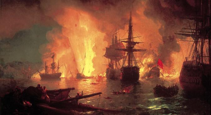 Иван Ајвазовски: Чесменска битка (1848). Ајвазовски је на овом платну представио једну од главних битака Прве архипелашке експедиције (1769-74).