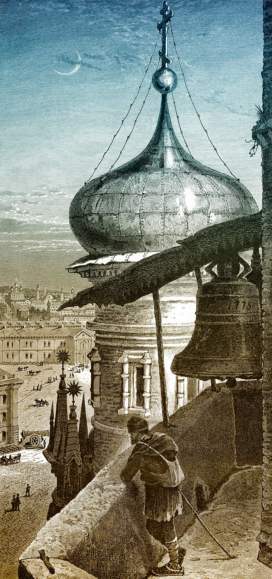 Historic drawing, view from the bell tower of Ivan the Great, 19th century