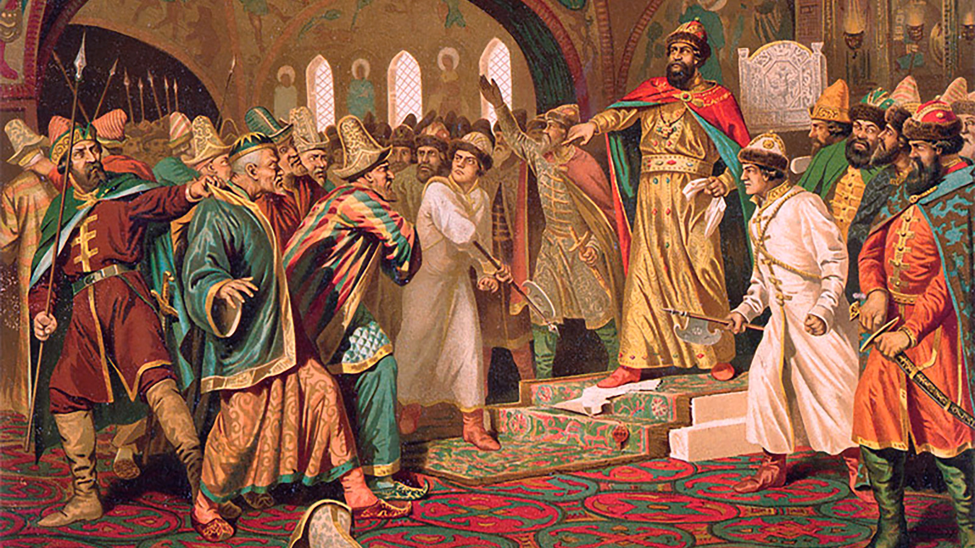 Ivan III tearing the khan's letter to pieces by Aleksey Kivshenko. According to the legend, Ivan tore apart the letter from Akhmat in which he asked for the tribute