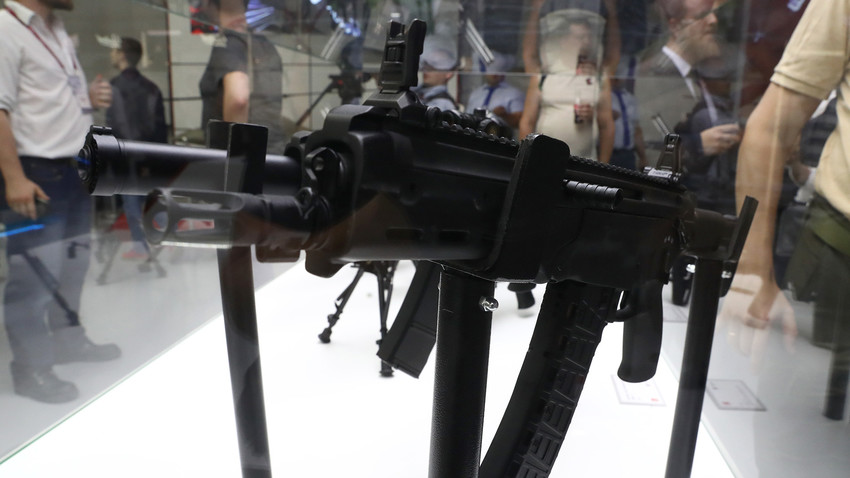 AM-17, a light assault rifle developed by the Kalashnikov group, on display at the Army-2017 International Military-Technical Forum held in the Patriot Expocentre.