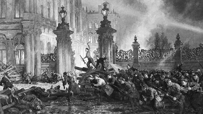 The storming of the Winter Palace, 1917.