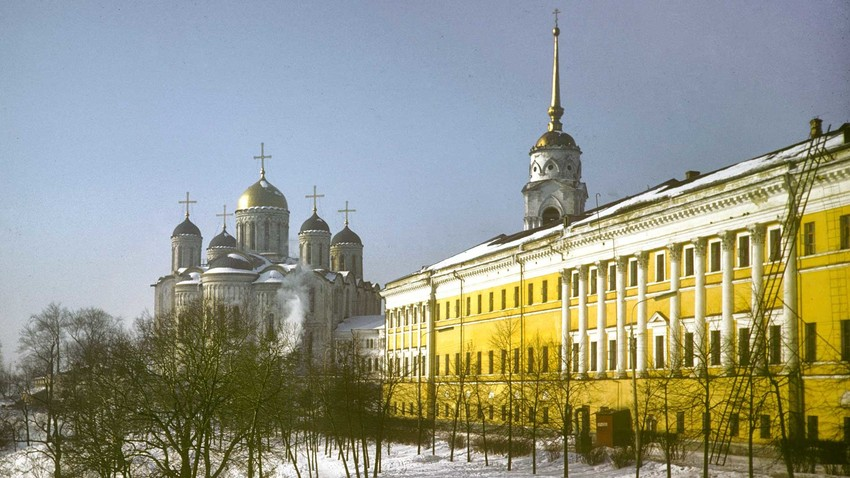 Dormition Cathedral. East view with Regional Administration (right). March 6, 1972.
