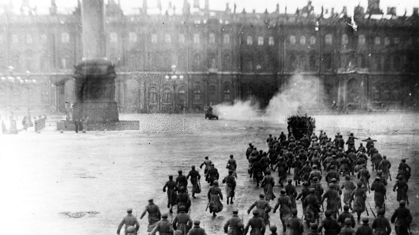 The storming of the Winter Palace by the insurgents. This photo is a reconstruction, staged for the benefit of the camera
