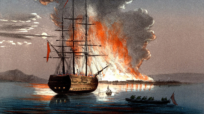 Burning of the redout at Kale (Canakkale) at the mouth of the Dardanelles (the Hellespont) during the Crimean war. Hand-coloured lithograph published in Italy 1857.