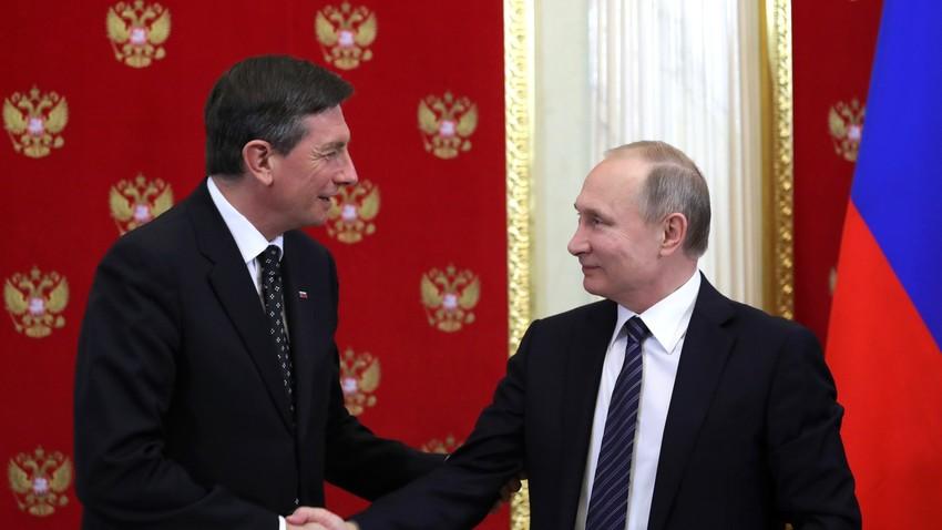 Fotografija s tiskovne konference 10. 2. 2017, ko je bil Pahor na uradnem obisku v Moskvi