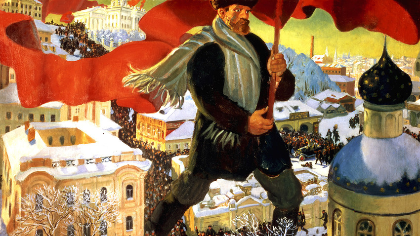 Boris Kustodiyev, Bolshevik, 1920, oil on canvas, State Tretyakov Gallery.