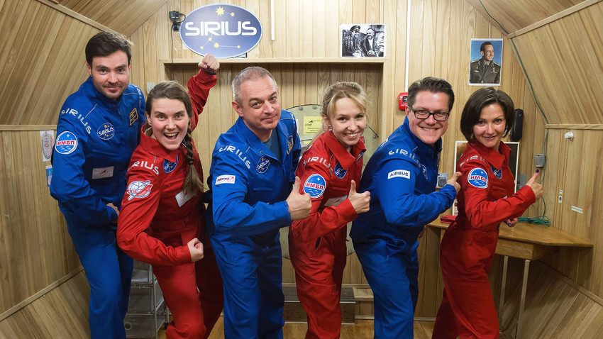 Space travel and isolation experiment participants left to right: Ilya Rukavishnikov, Anna Kikina, Mark Serov, Natalia Lysova, Viktor Fetter, Elena Luchitskaya