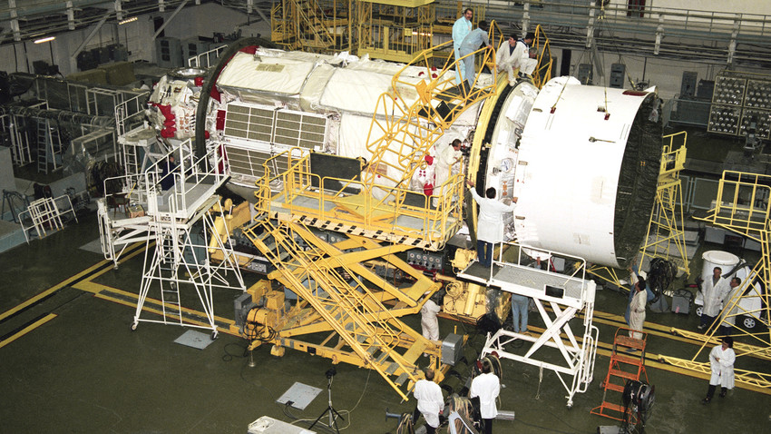 Preparatory work related to the launch of the Russian functional cargo block Zarya.