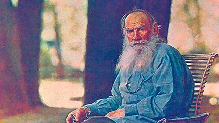 Leo Tolstoy in front of his country house in Yasnaya Polyana