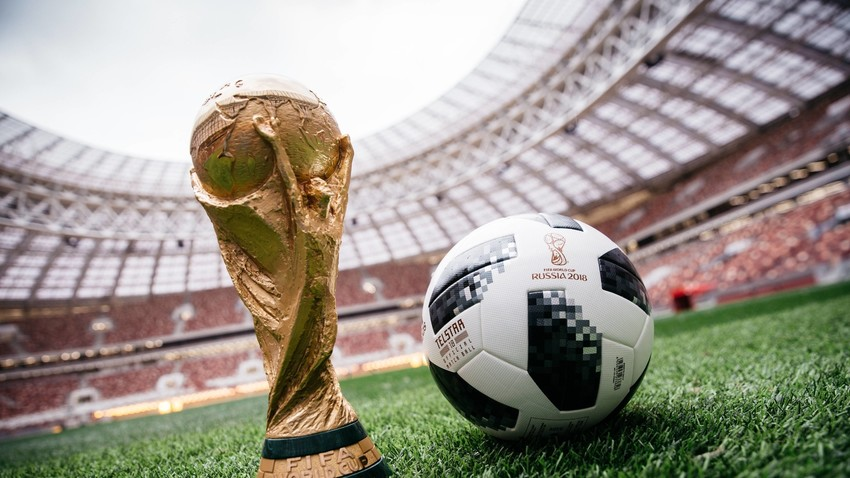 World Cup trophy and official game ball Adidas Telstar 18 of the FIFA World Cup in Russia.