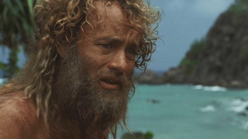 """Том Ханкс в ролята на един """"съвременен Робинзон Крузо"""" във филма """"Корабокрушенецът""""."""