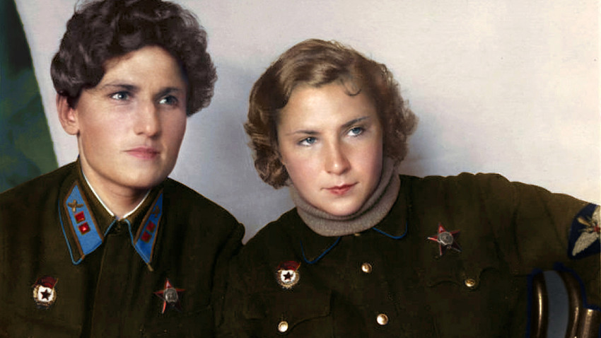 Yekaterina Budanova (L) and Lidya Litvyak