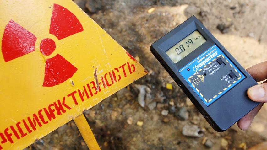 Medidor de radiação em instalação nuclear russa