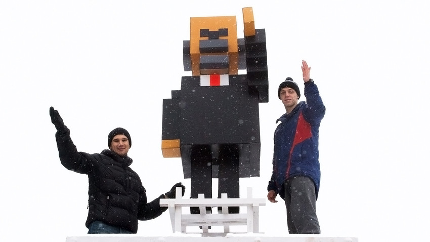 Minecraft Lenin appears in Krasnoyarsk