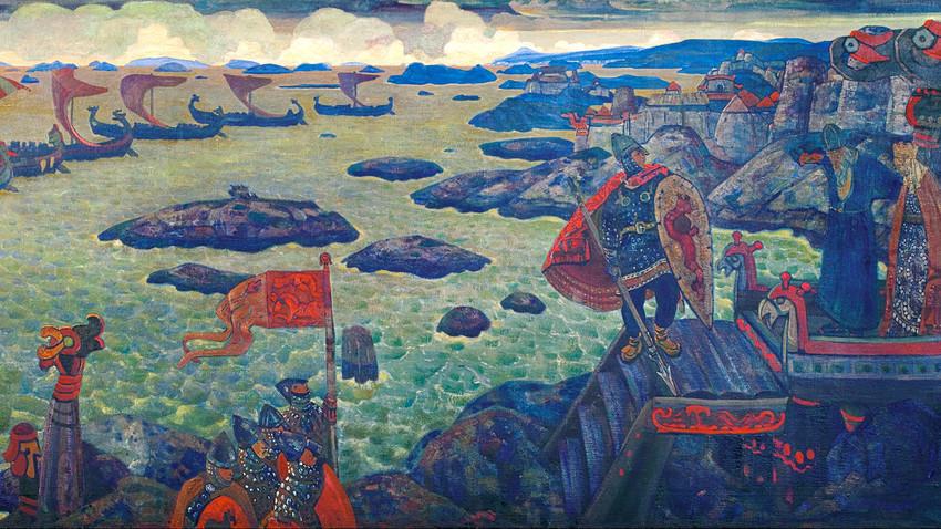 Bersiap untuk Menyerang (Pasukan Varyag di Laut) karya Nicholas Roerich.