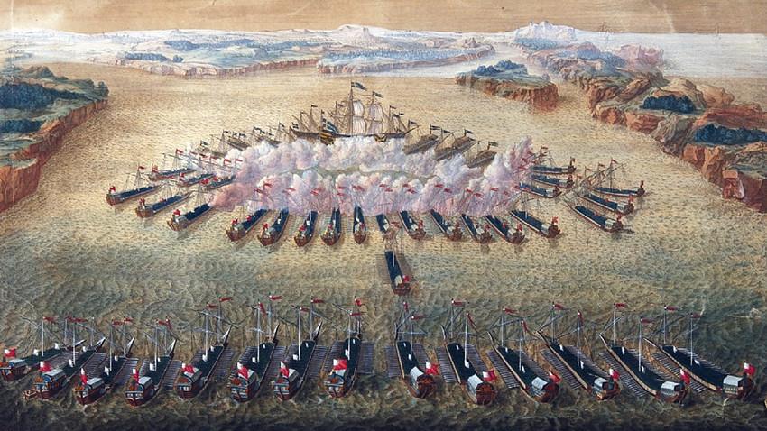 Batalla de Gangut, obra de Mauritius Baquoi, 1724—1727.