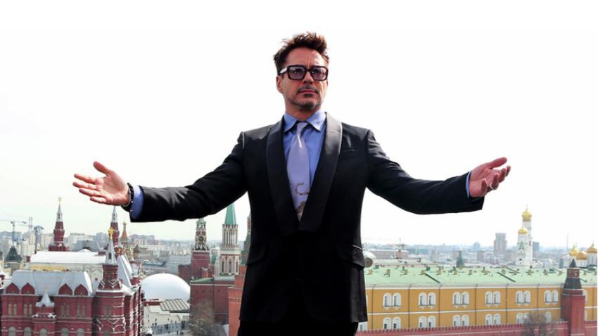 Robert Downey Jr. v Moskvi.