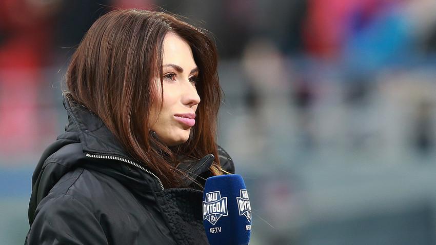 Maria Komandnaya selama pertandingan Liga Primer Rusia.