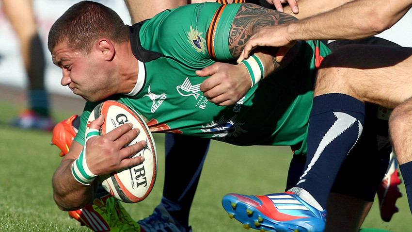Krasny Yar player (green) seen in the Russian Rugby Super Cup match against Yenisei-STM, May 7, 2015. Source: Stanislav Krasilnikov