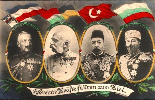 Postkarte aus Zeiten des Ersten Weltkriegs: Preußen, Österreich-Ungarn, Ottomanen und Bulgarien - Parole des Vierbundes