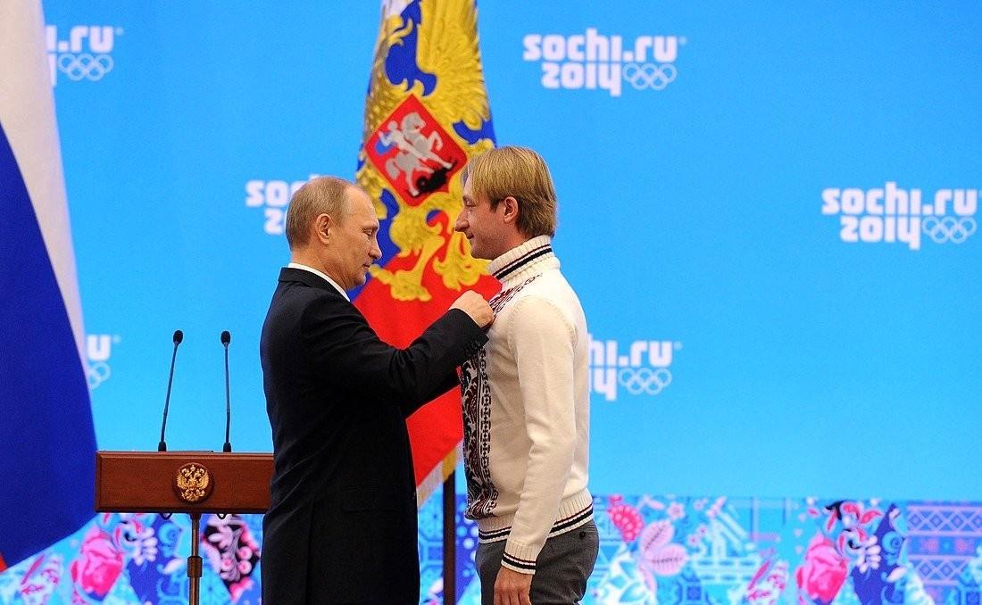 Präsident Putin zeichnet Pljuschtschenko mit dem russischen Verdienstorden aus, Februar 2014, Sotschi