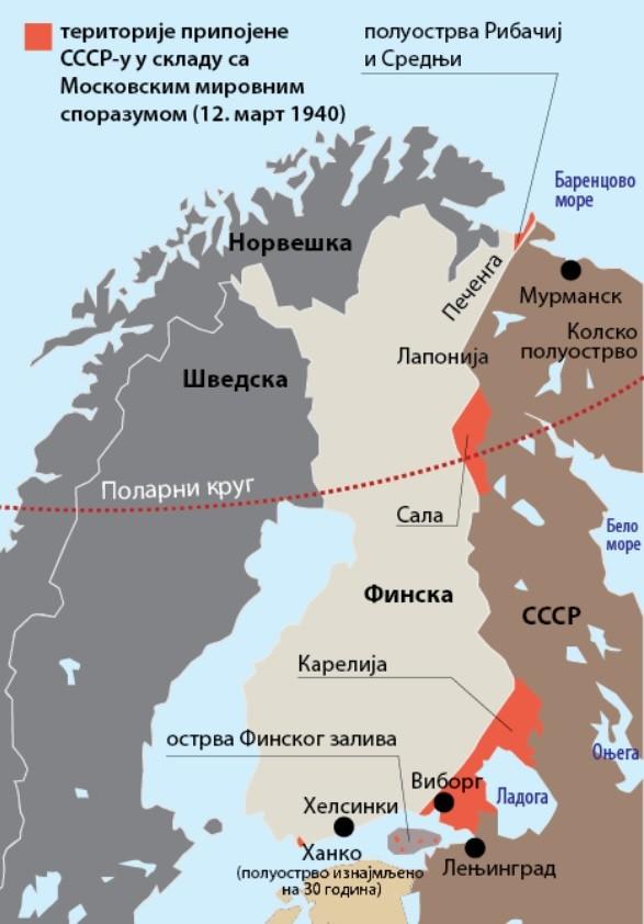Odstop ozemlja Finske Sovjetski zvezi po Moskovski mirovni pogodbi (marec 1940), s katero se je končala sovjetsko-finska vojna. Po drugi svetovno vojni je morala Finska oddati ZSSR še izhod v Arktiko. Odstopljena ozemlja so označena z rdečo.