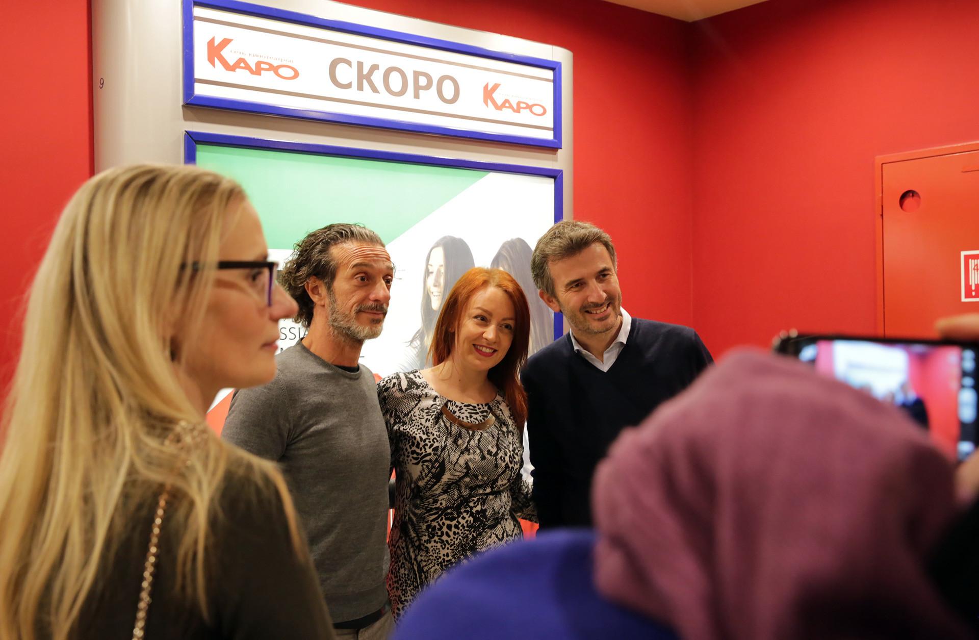 I comici Ficarra e Picone incontrano il pubblico russo al cinema Karo Oktyabr di Mosca