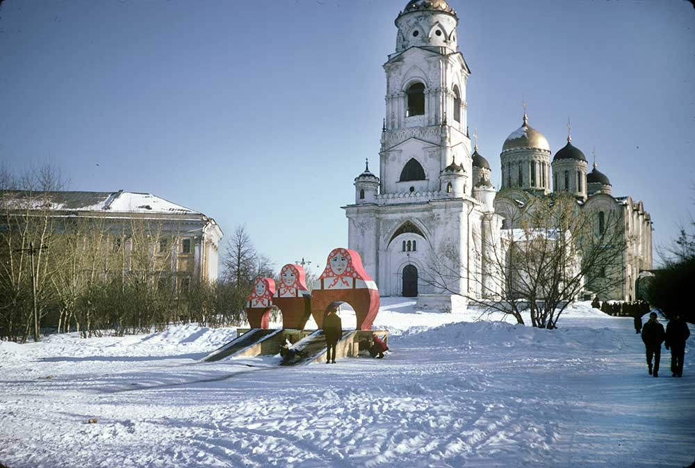 Dormition Cathedral. Northwest view with bell tower & Church of St. George. Left: Regional Administration. March 6, 1972.
