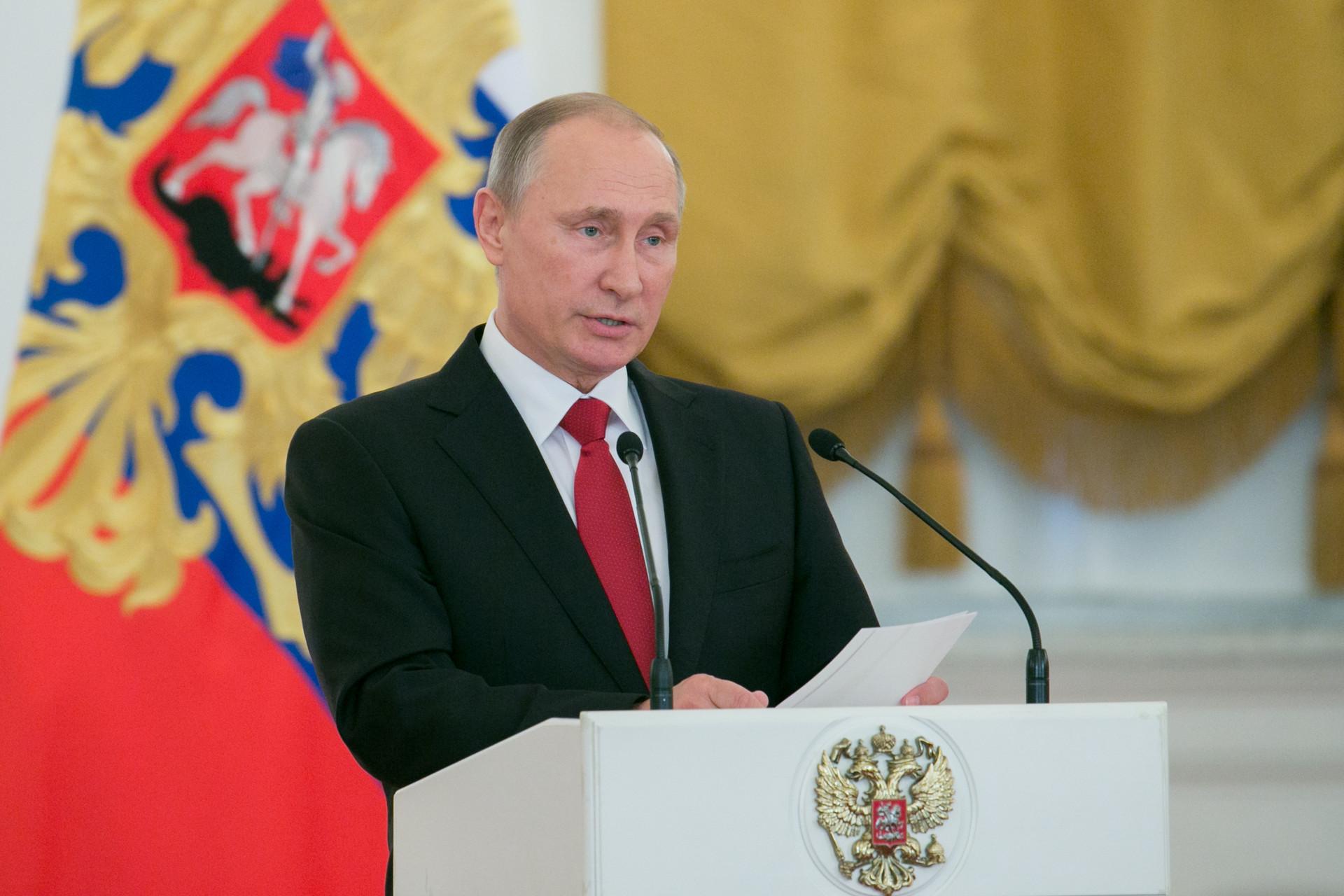 Starorusko ime Vladimir izhaja iz dveh besed, ki pomenita »tisti, ki vlada v miru« (v ljudski zavesti tudi »tisti, ki vlada svetu«). Na fotografiji: ruski predsednik Vladimir Vladimirovič Putin.