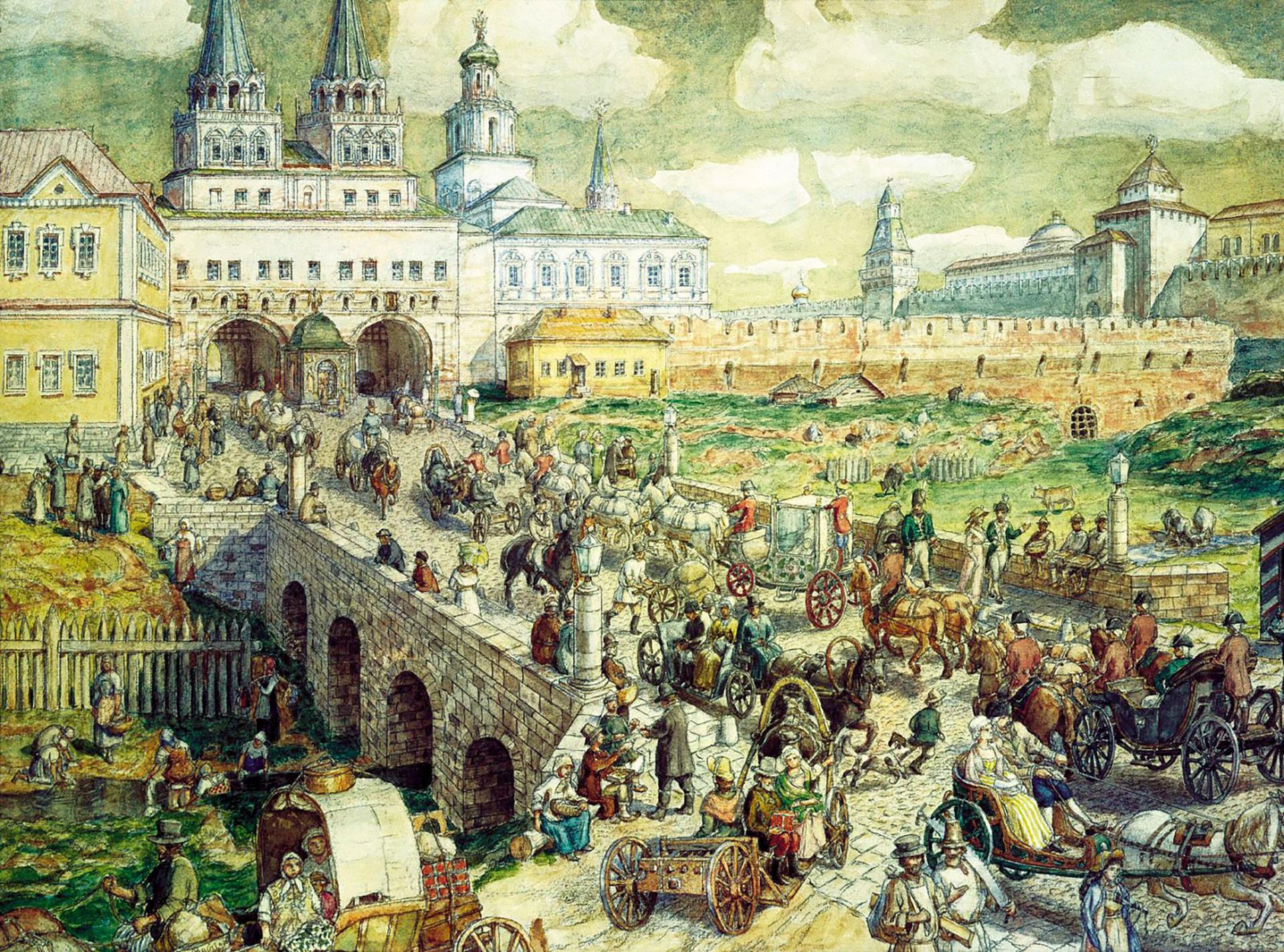 Puente Voskesenski en Moscú, siglo XVIII.