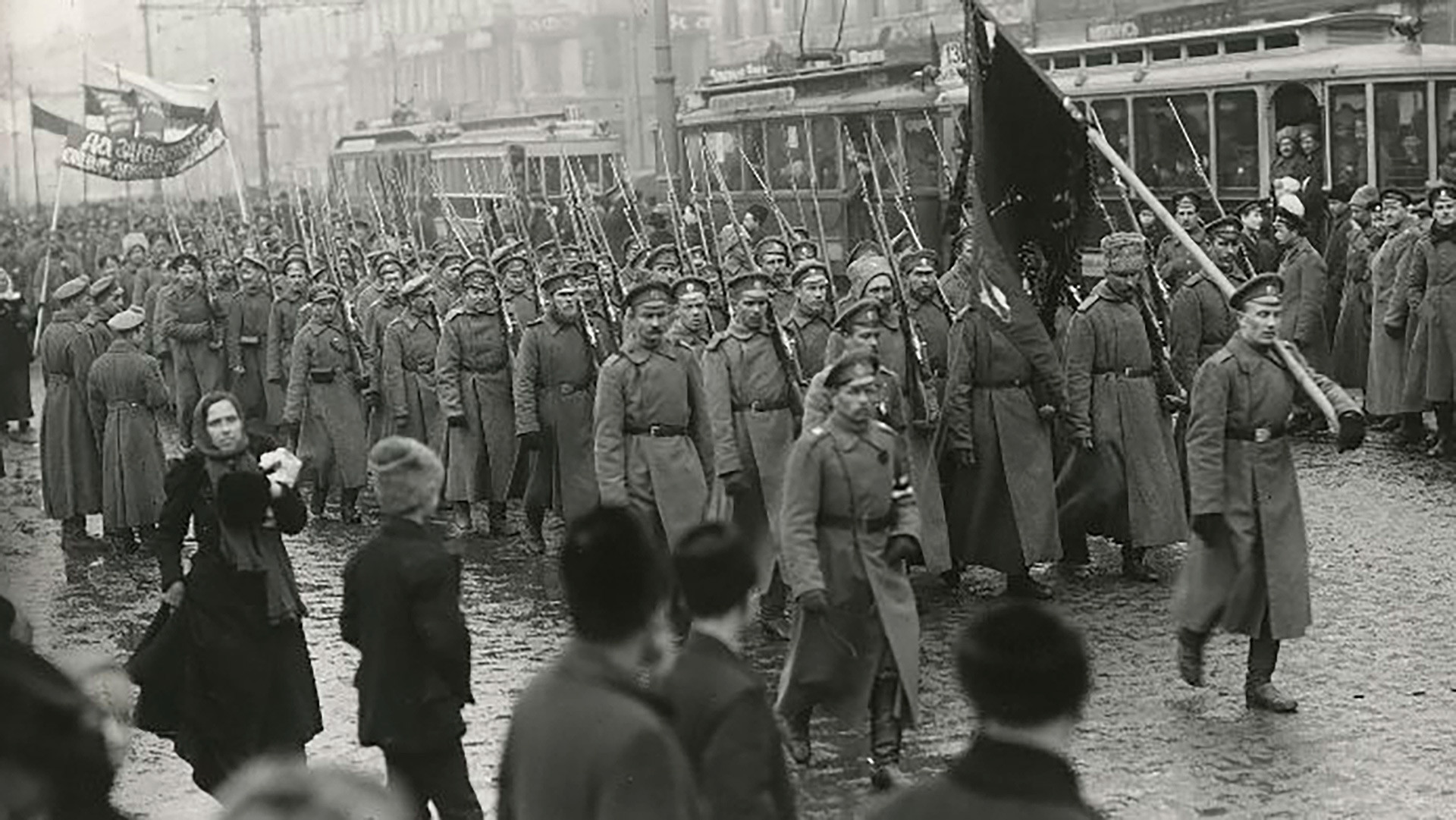 The Preobrazhensky regiment marching on Nevsky Prospect