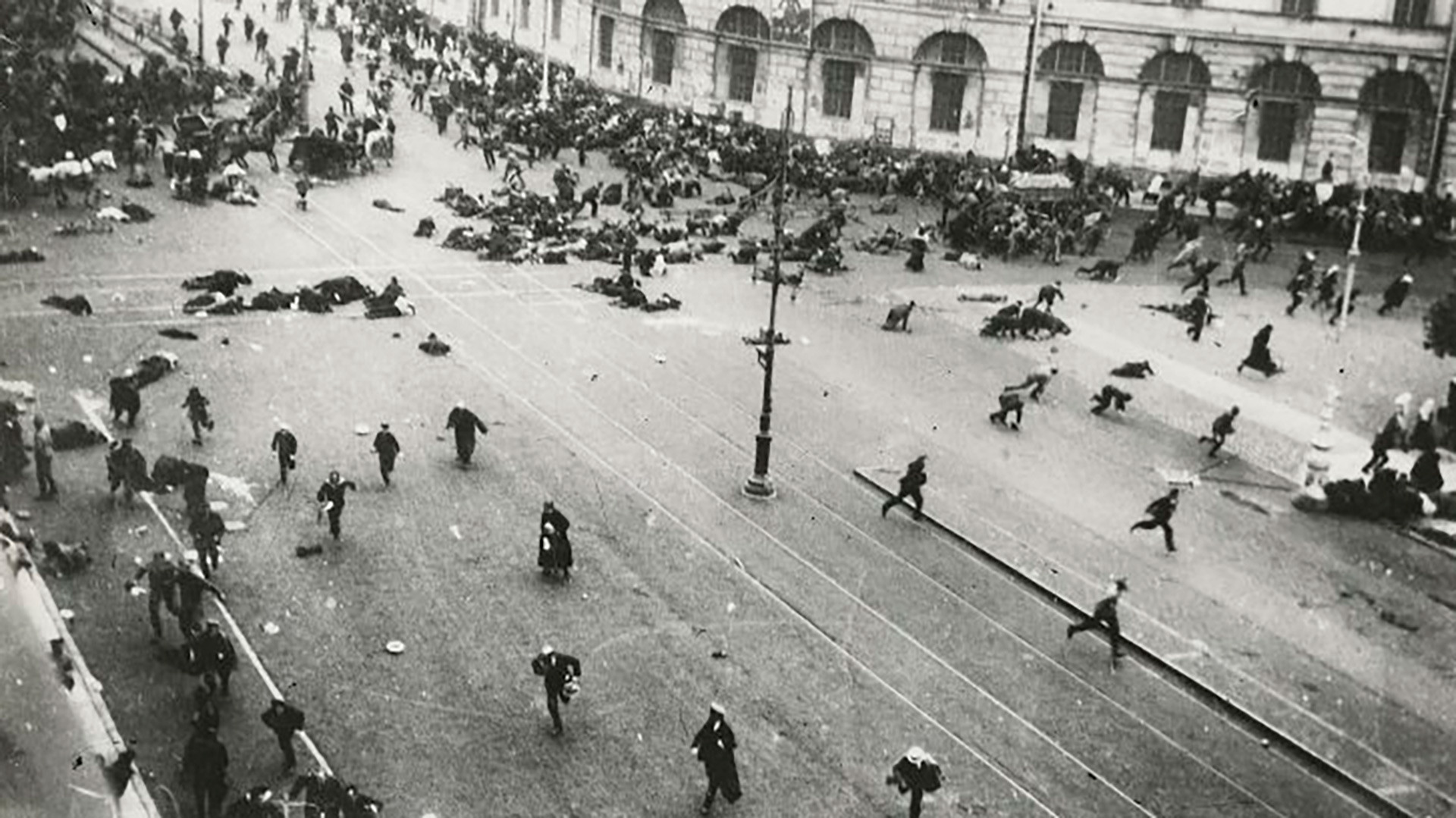 The Provisional Government's troops shoot into a peace demonstration on Nevsky Prospect