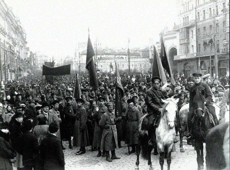 Celebración del primer aniversario de la Revolución de Octubre.
