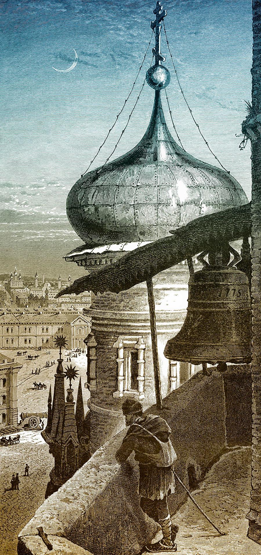 Desenho histórico representando a vista da torre do sino de Ivan, o Grande, no século 19.