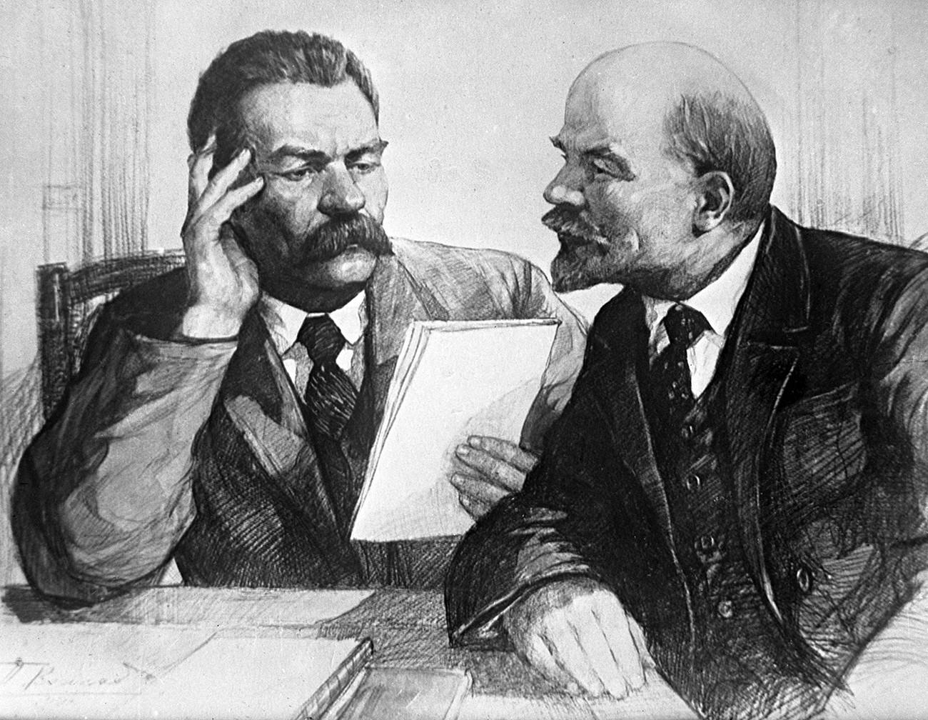 Максим Горки (лево) и Владимир Лењин. Репродукција.