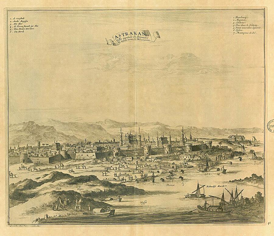 La città di Astrakhan alla fine del XVII secolo