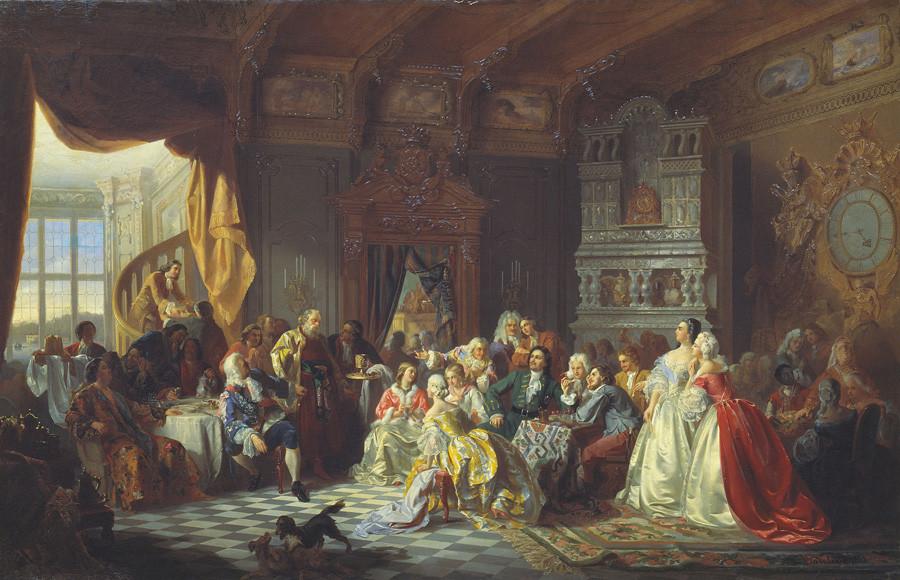 Assemblea al cospetto dello zar Pietro I, dipinto di Stanislav Khlebovskij, 1858