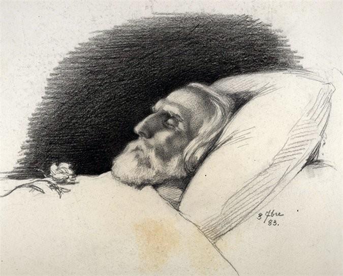 Iván Turguéniev en el lecho de muerte.