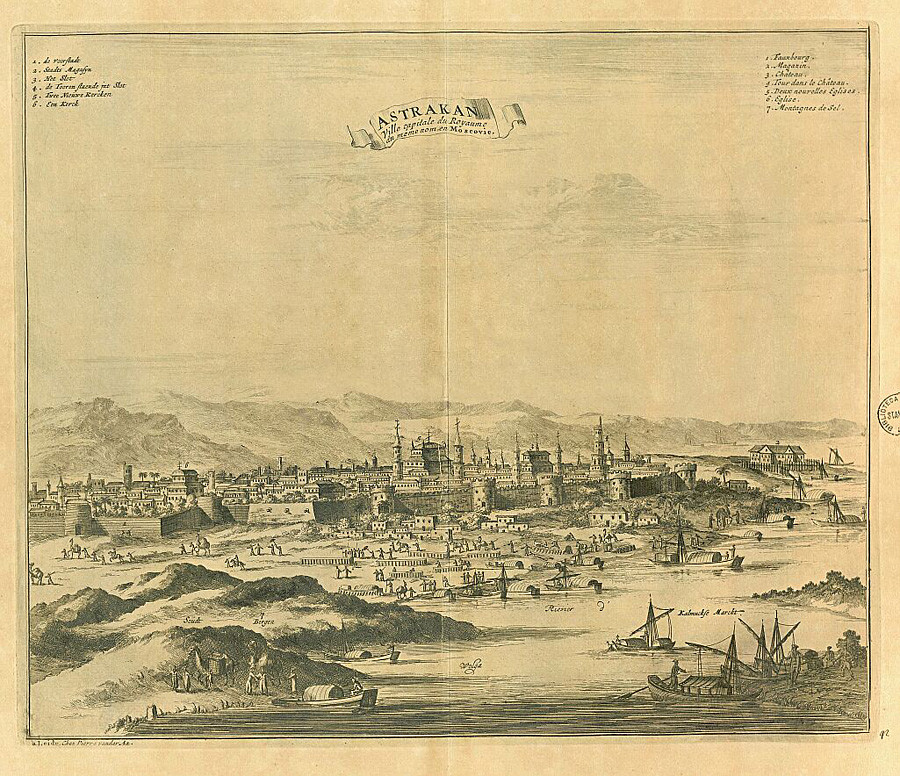 The city of Astrakhan at the end of the 17th century