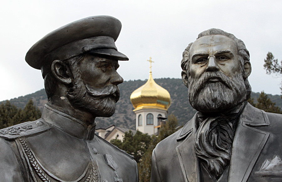 Statues of Tsar Nicholas II of Russia (L) and wine maker, prince Lev Golitsyn, at the Novy Svet winery in Crimea