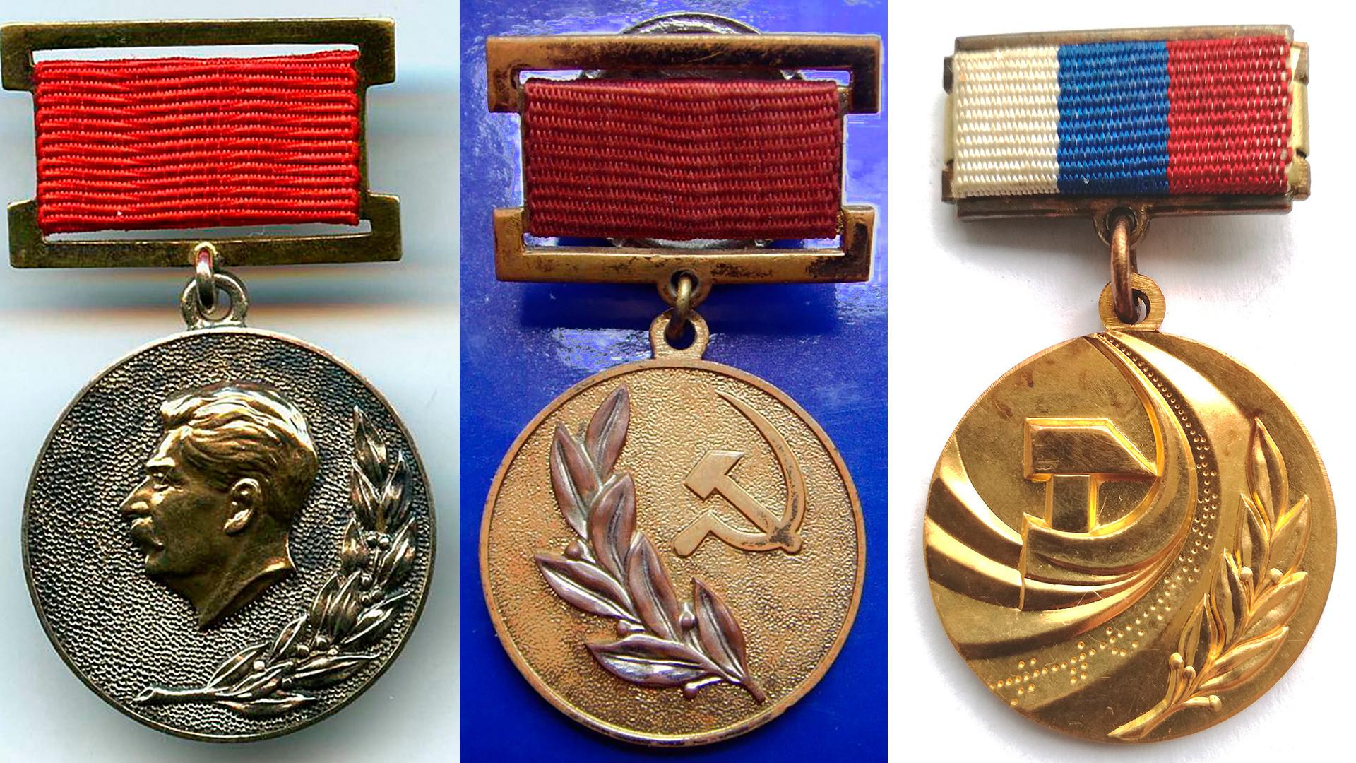 Medallas del Premio del Estado (de la izq. a la der.): Stalin, de la URSS y de la Federación Rusa.
