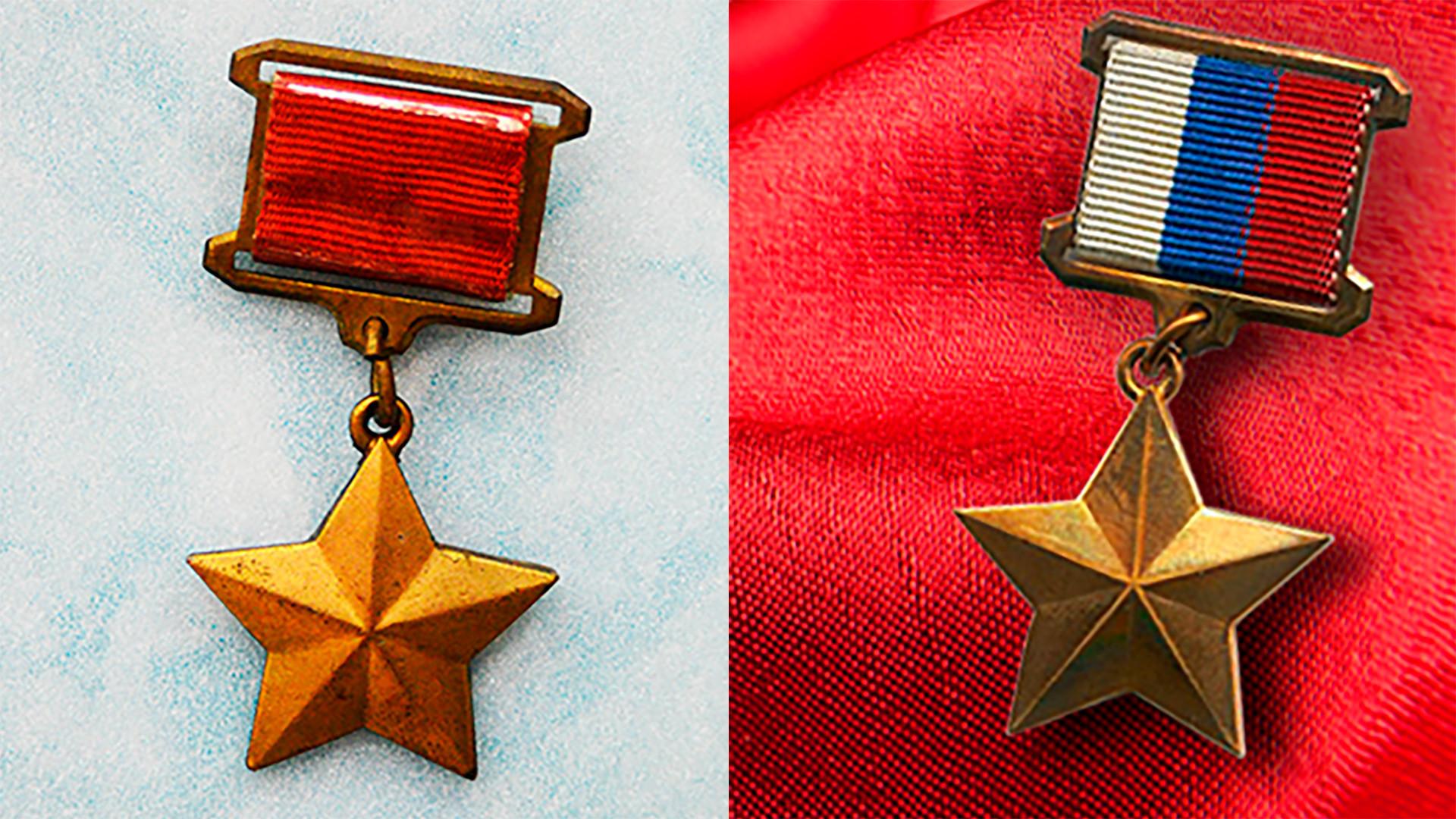 Estrellas de oro, la insignia del Héroe de la URRS y del Héroe de la Federación de Rusia.
