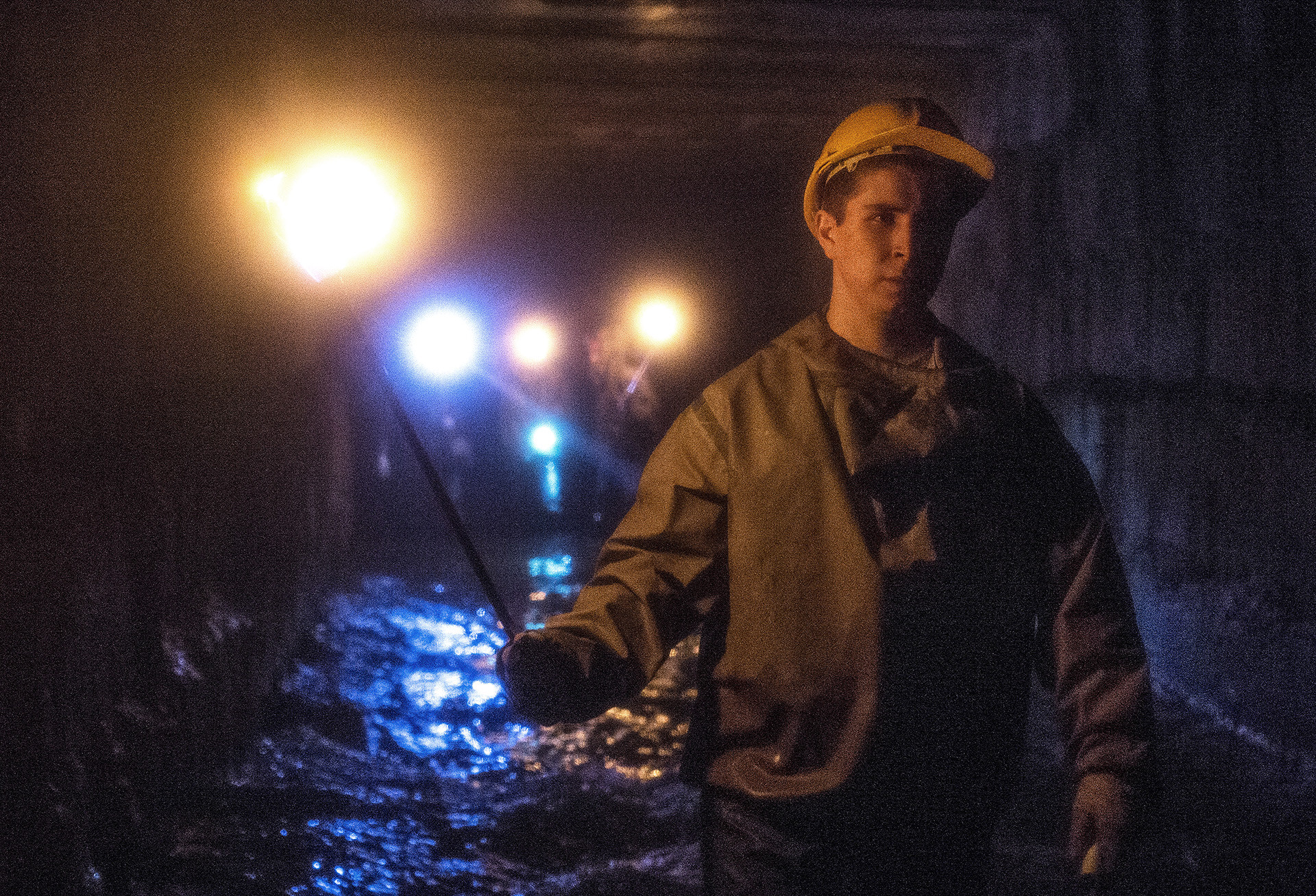 Moscow diggers explore underground channel.