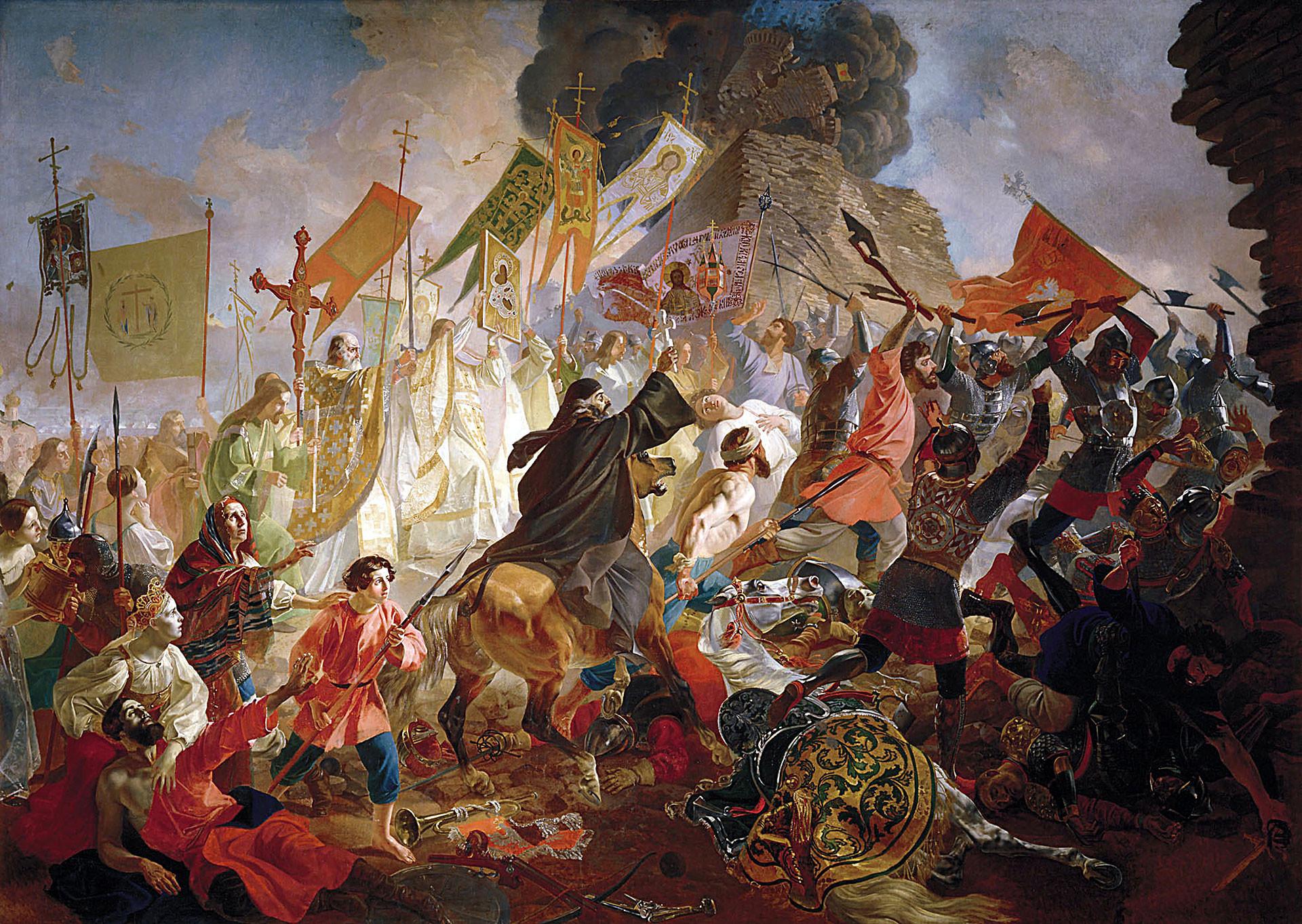 Војската на полскиот крал Стефан Батори го става под опсада Псков, 1843. Карл Брјулов, масло на платно.