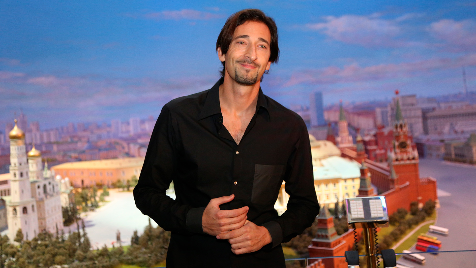 Adrien Brody holds a news conference at the Radisson Royal Hotel Moscow.