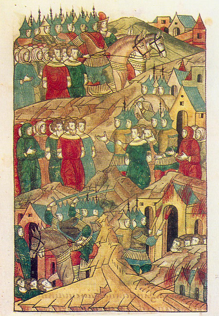 Destrucción de Riazán por los mongoles. Imagen del siglo XVI.