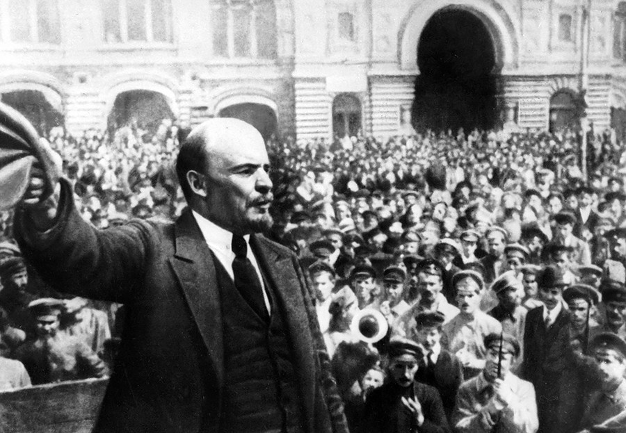 Vladimir Lenin addresses soldiers of the new Soviet army in Moscow's Red Square on May 25, 1919.
